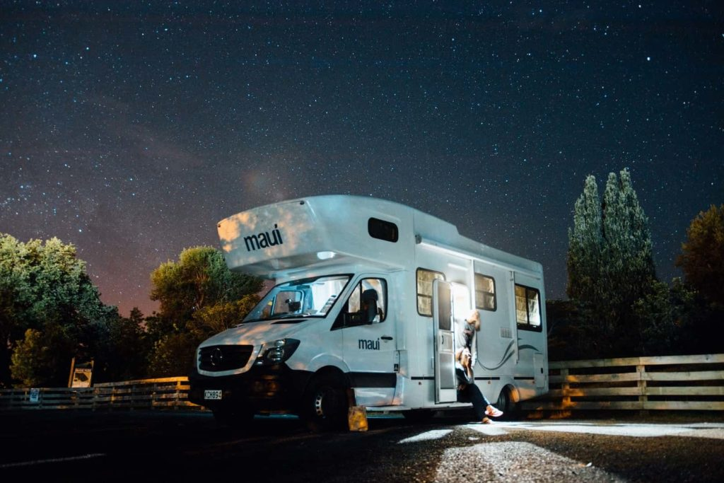 RV at night, RV Lithium Ion Batteries